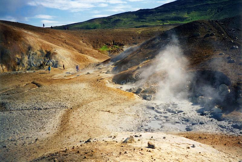 Steam Rising at Thermal Field on the Flank of Krafla Volcano, Northern IcelandIceland stock photo