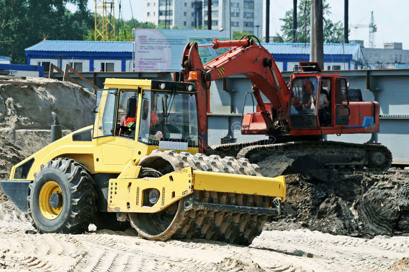 Download Steam Roller And Excavator On Construction Site Stock Image - Image: 4102113