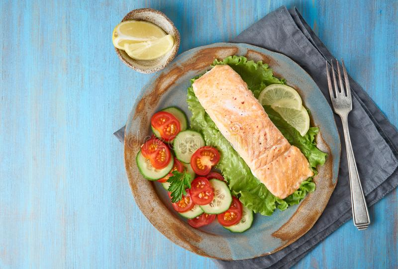 Steam salmon and vegetables, Paleo, keto, fodmap diet. Copy space, top view. Healthy diet concept stock photos