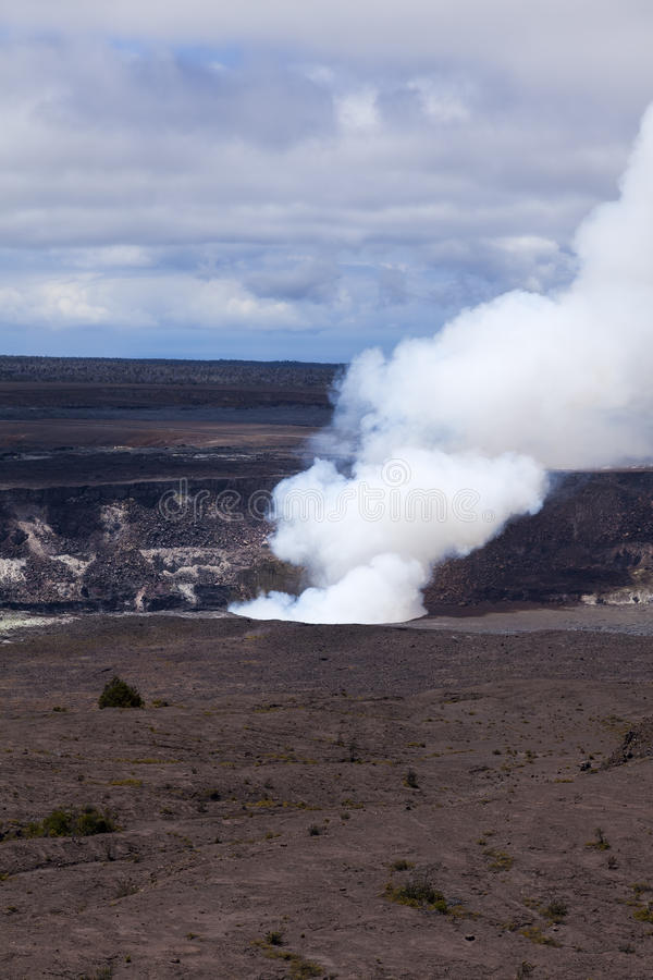 Steam and smoke rising from an active vent in the Kilauea crater. On the Big Island of Hawaii stock image
