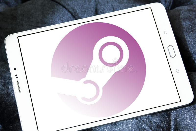 Steam games software company logo. Logo of Steam software company on samsung tablet. Steam is a digital distribution platform developed by Valve Corporation stock images