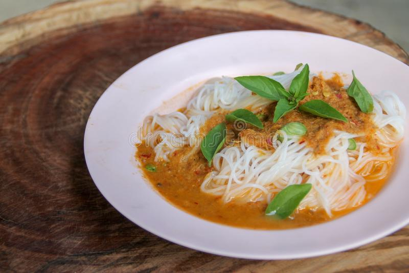 Steam thai rice vermicelli with red curry and vetgetable royalty free stock image