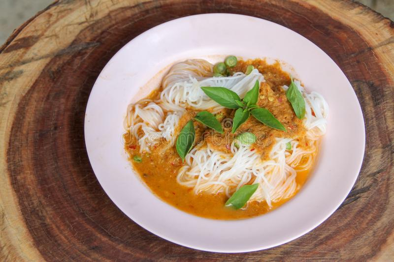 Steam thai rice vermicelli with red curry and vetgetable stock photos
