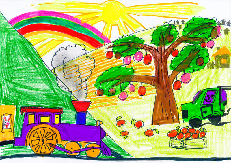 Steam train and car on countryside. child drawing. stock illustration