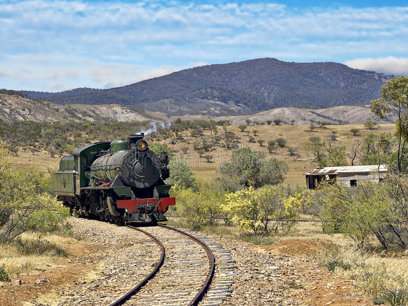 Download Steam Train Coming Around The Corner Stock Photo - Image: 9174406