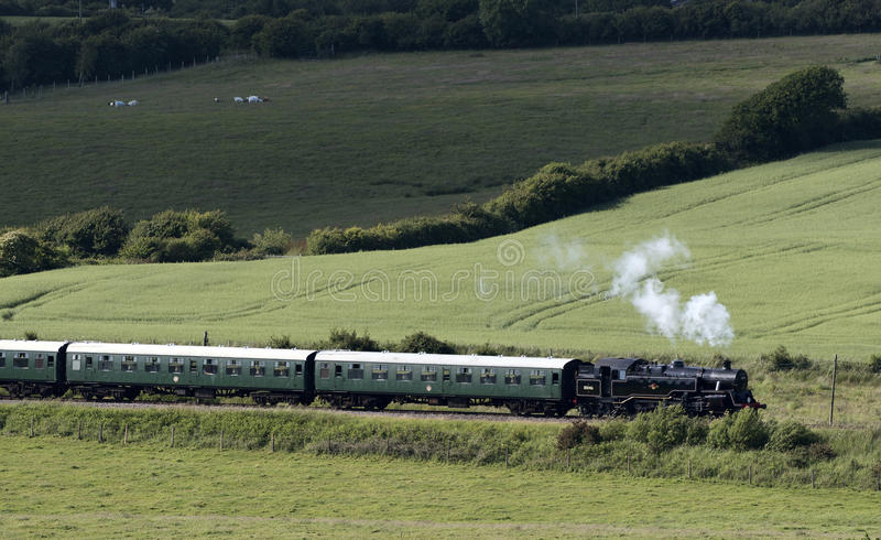 Steam train and English countryside. Steam engine pulling passenger coaches through the Dorset countryside at Harmans Cross on the Swanage Railway line. June royalty free stock photo