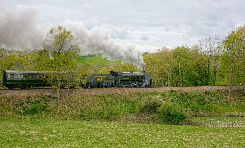 Vintage steam train on Bluebell Line. Sussex stock photos