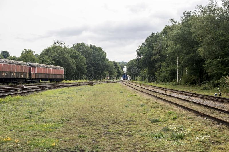 The steam train is far away royalty free stock photos