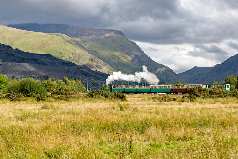 Steam train in Llamberris stock photos