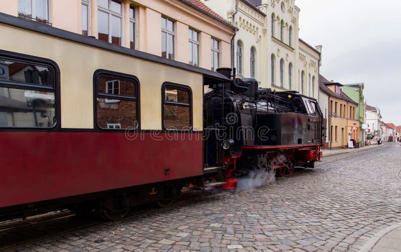 Steam train, Molli goes through Bad Doberan royalty free stock photo