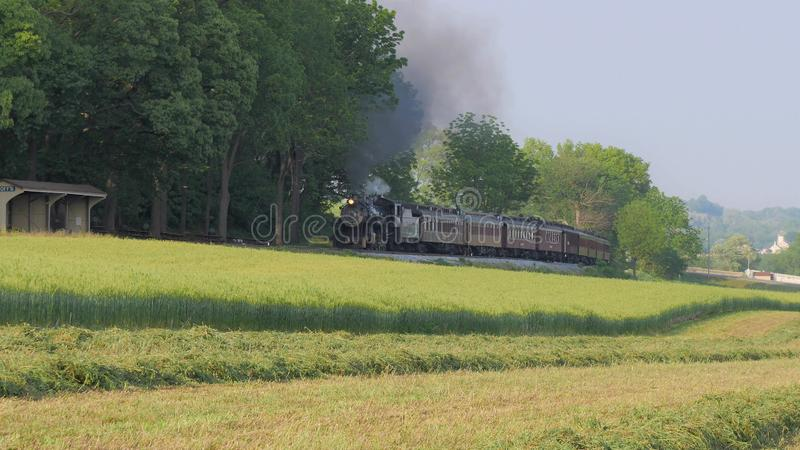 Steam Train pulling into Picnic Area royalty free stock photography