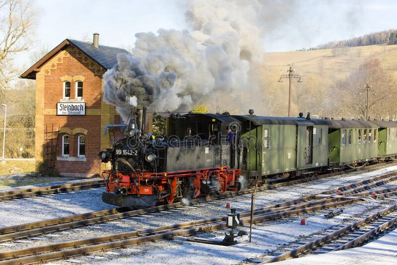 Steam train, Steinbach - Jöhstadt, Germany. Steam train, Steinbach - Jöhstadt, Germany stock photo
