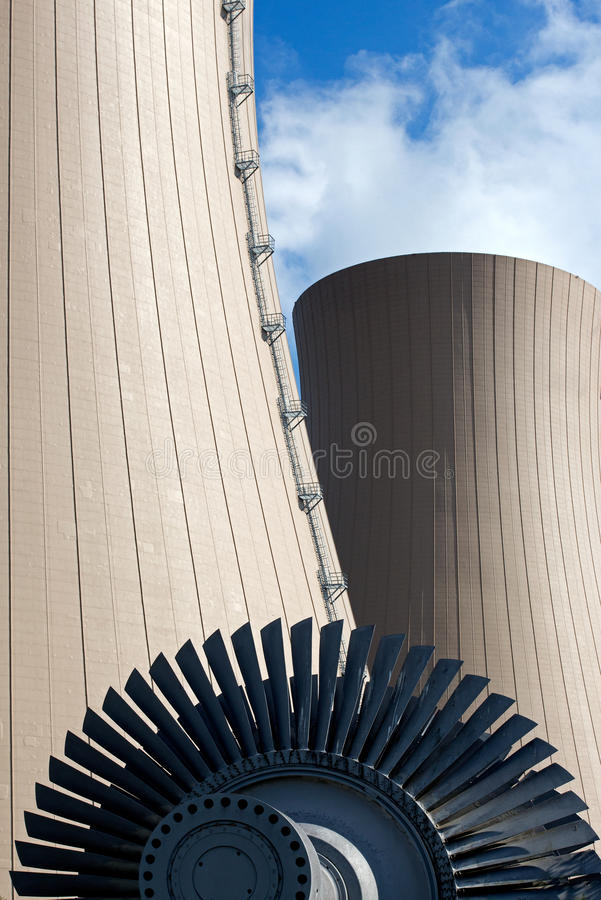 Download Steam Turbine Against Nuclear Plant Stock Image - Image: 33495559