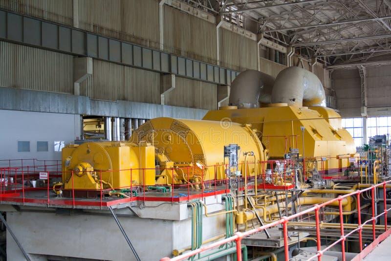 Steam turbine from generator side stock photo