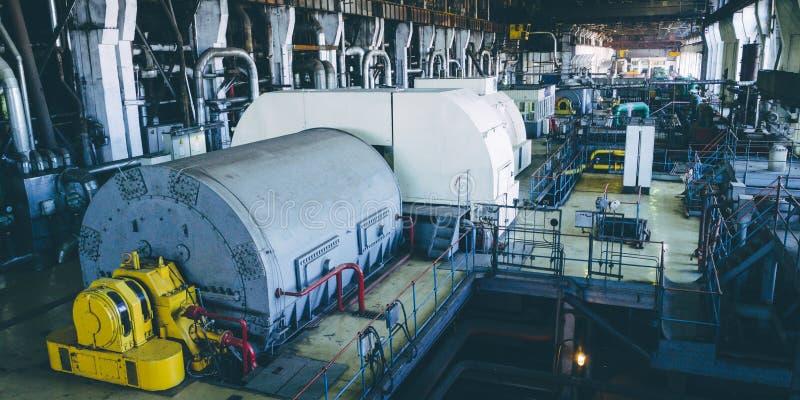 Steam turbine at power plant. Factory energy heat stock photo