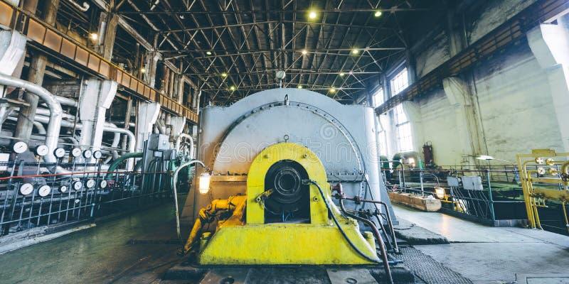 Steam turbine at power plant. Factory energy heat stock image
