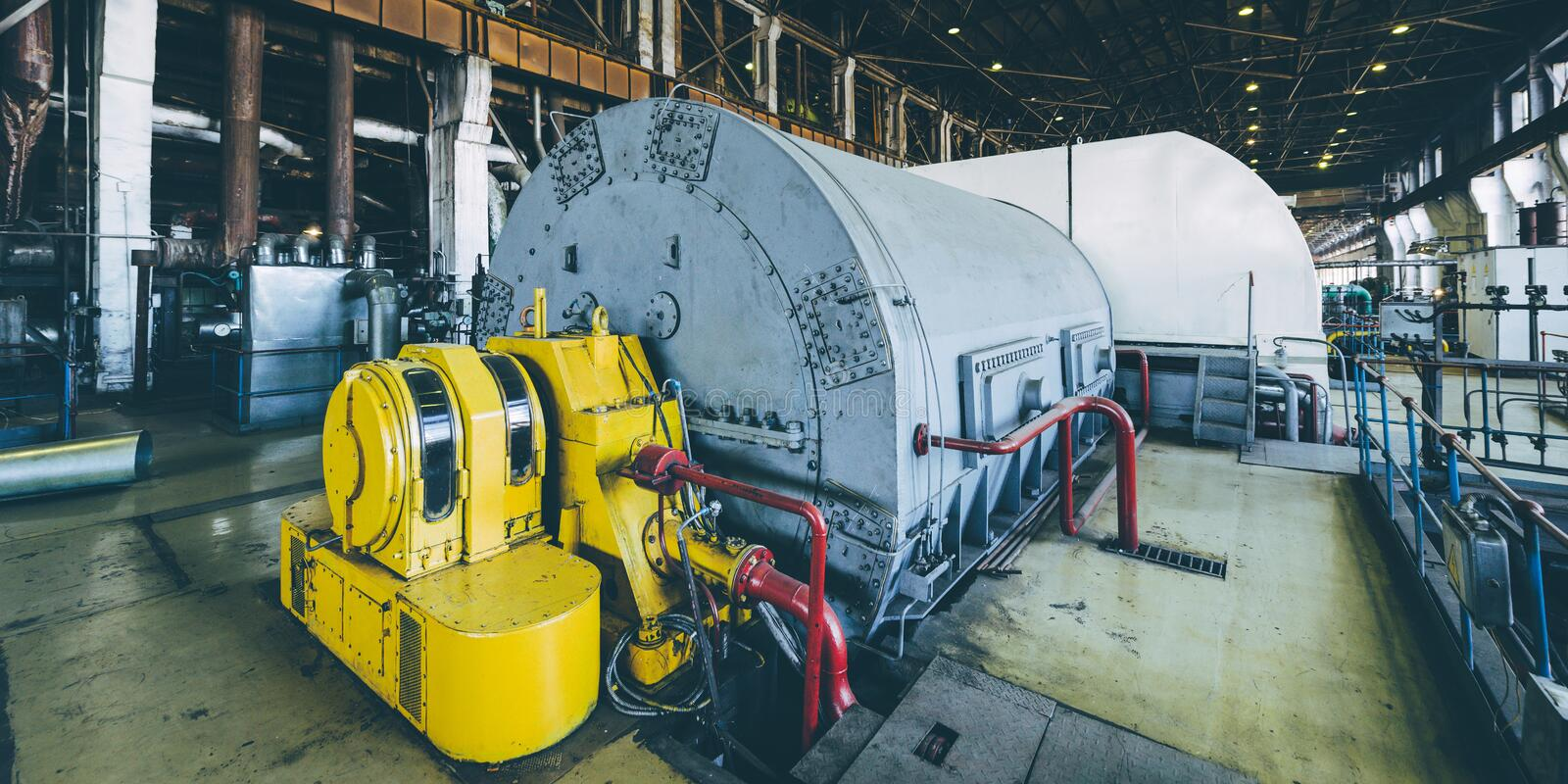 Steam turbine at power plant. Factory energy heat stock photography