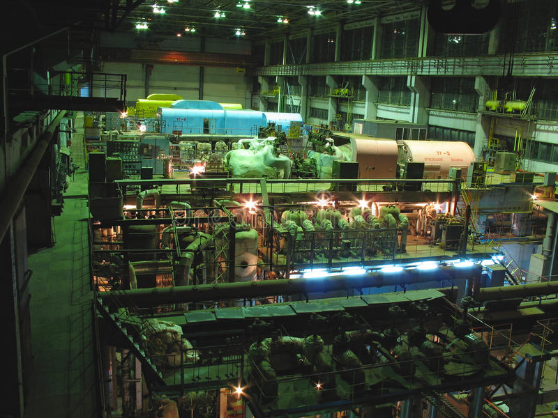 Steam turbines, machinery, pipes, tubes stock image