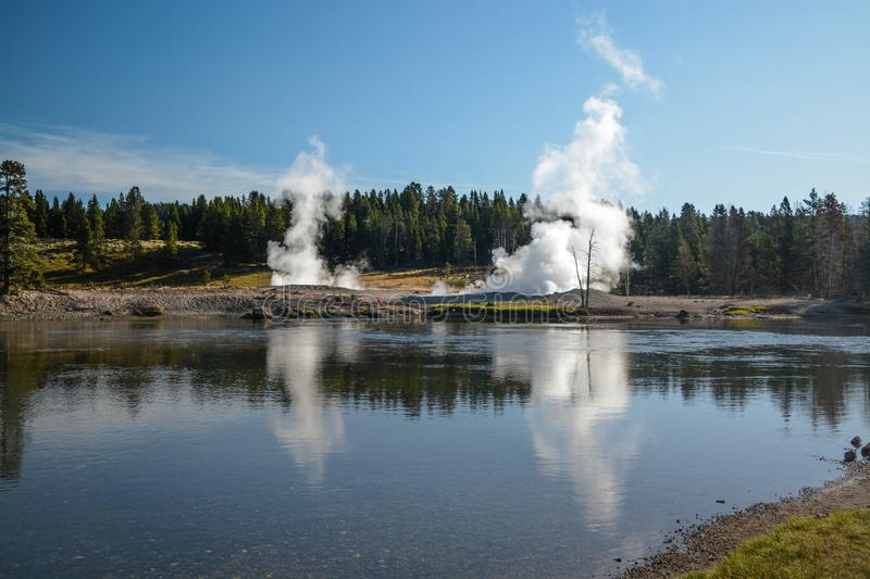 Steam Vents Along the Yellowstone River stock photo
