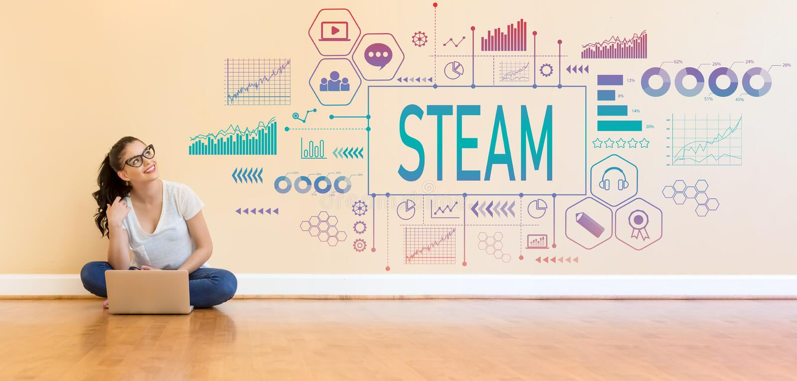 STEAM with young woman using a laptop computer royalty free stock photos