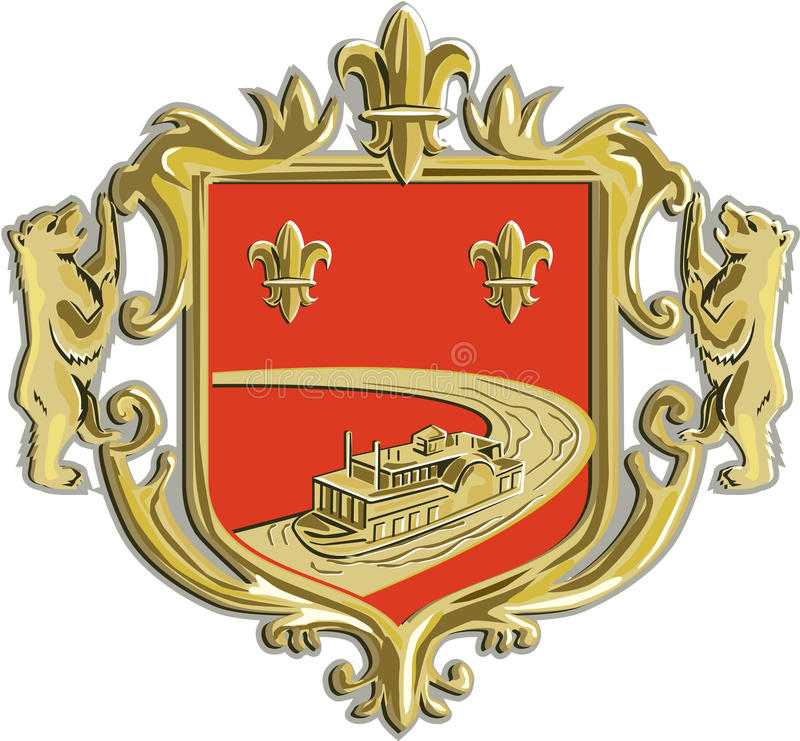 Steamboat Fleur De Lis Coat of Arms Retro vector illustration