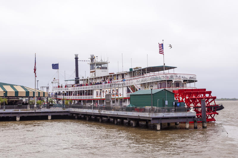 Steamboat Natchez in New Orleans. NEW ORLEANS, LA, USA - APR 16, 2016: Historic steamboat Natchez at the Mississippi River in New Orleans. Louisiana, United stock photography