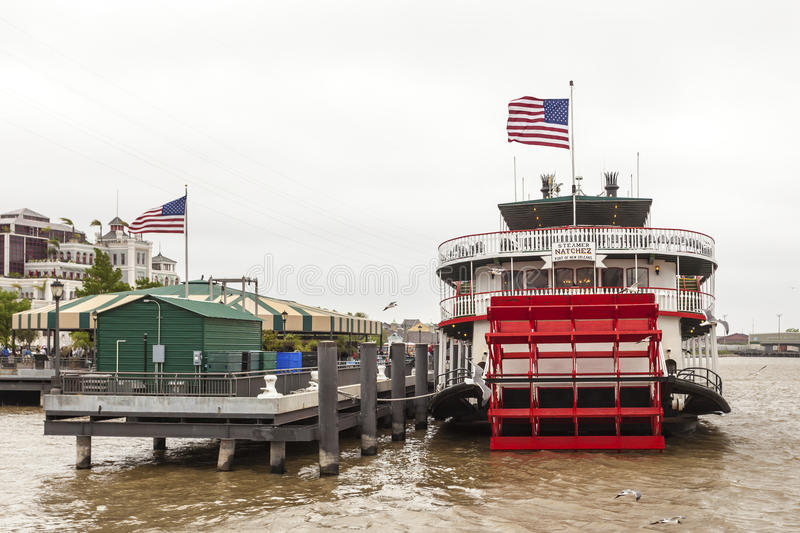 Steamboat Natchez in New Orleans. NEW ORLEANS, LA, USA - APR 16, 2016: Historic steamboat Natchez at the Mississippi River in New Orleans. Louisiana, United royalty free stock images