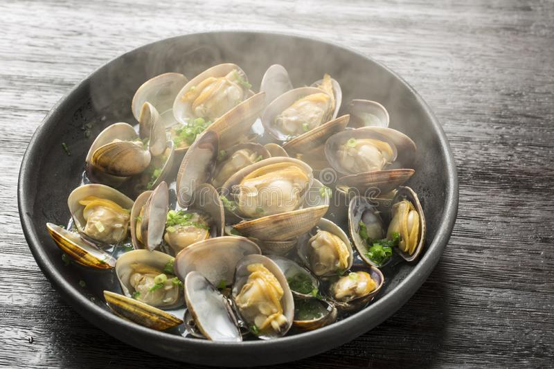 Steamed bivalve clams, Japanese food,. Clams from Aichi Prefecture stock photos