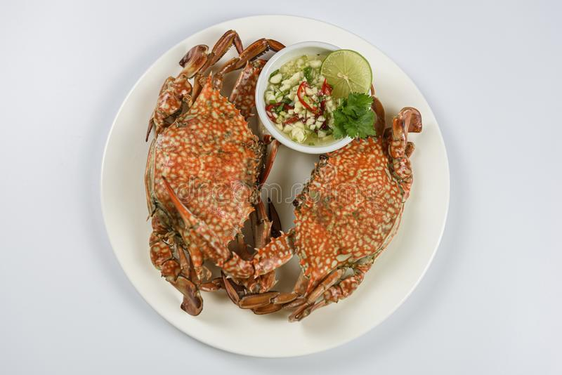 Steamed blue crab on white plate with spicy seafood sauce. stock photography