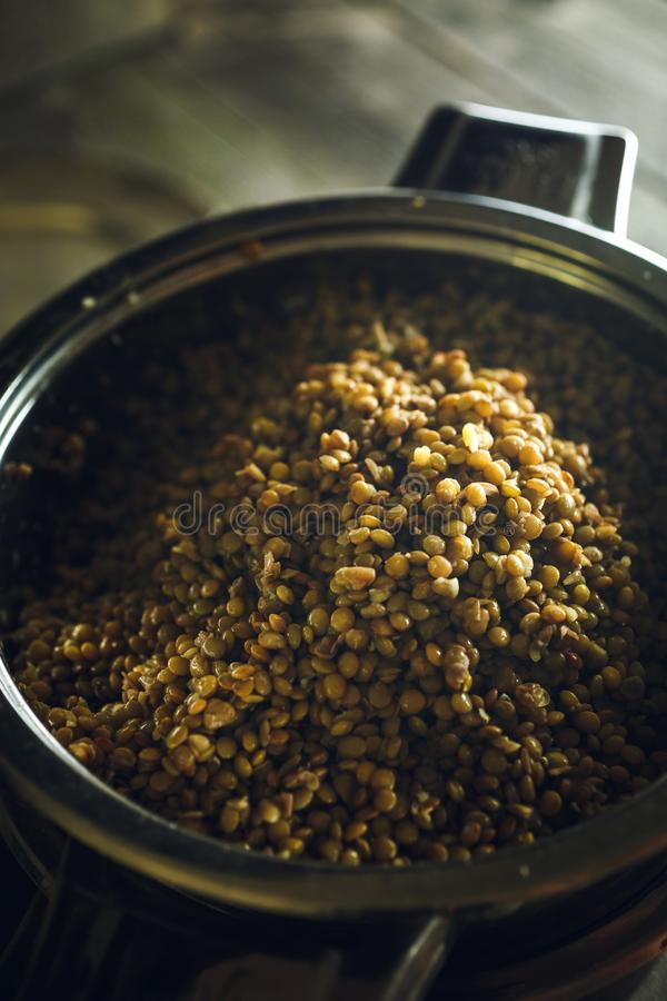 Steamed lentils in a pot stock images