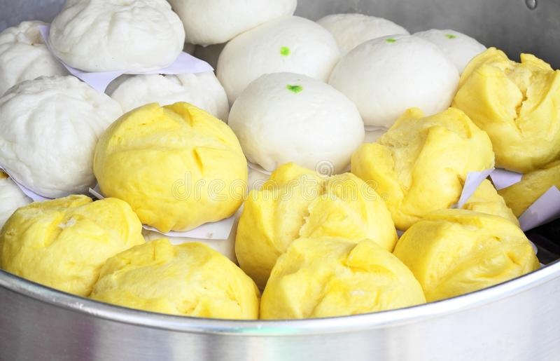 Steamed bun in the steamer royalty free stock photo