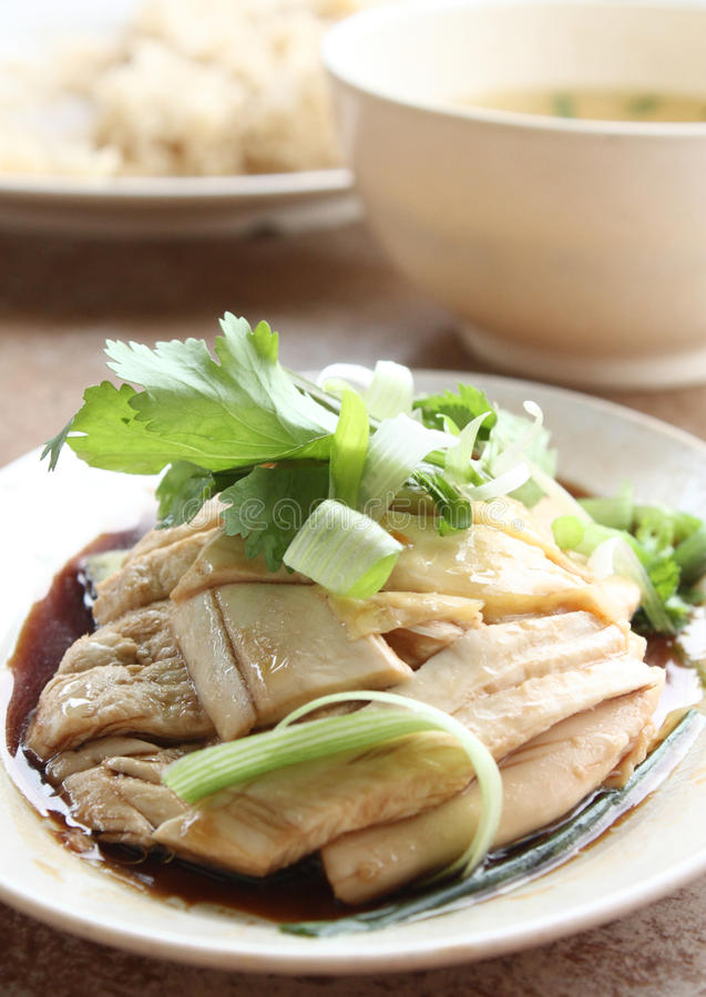 Steamed Chicken. Dish with Soy Sauce served with soup and rice stock image