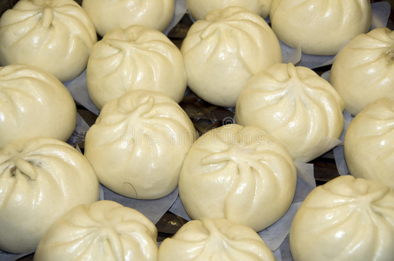 Steamed chicken buns Chinese restaurant stock photo