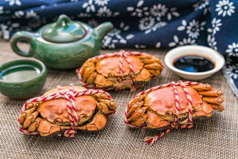 Steamed crab, a delicacy of Chongyang Festival in China stock photos