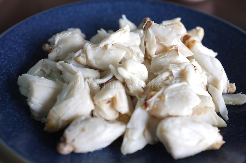 Steamed crab meat from blue crab royalty free stock image