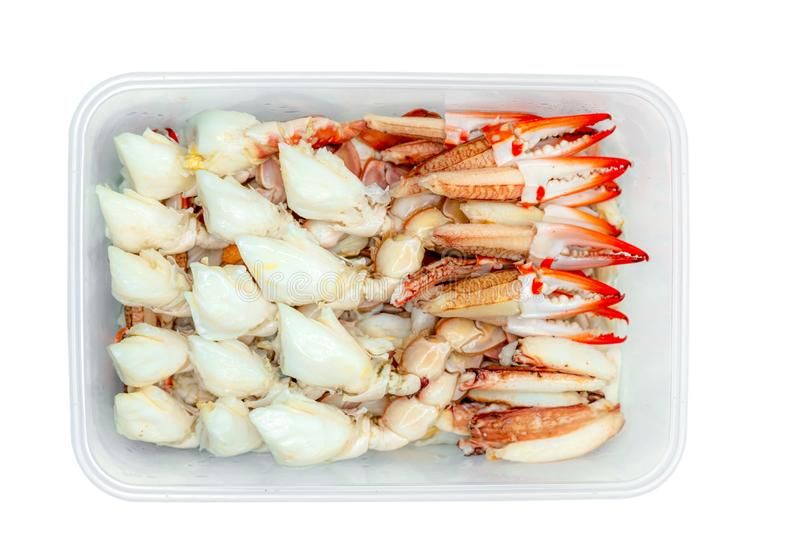 Steamed crab meat pack in plastic box for delivery. Seafood ready to eat delivery business. Steamed lump crab meat in disposable royalty free stock photography