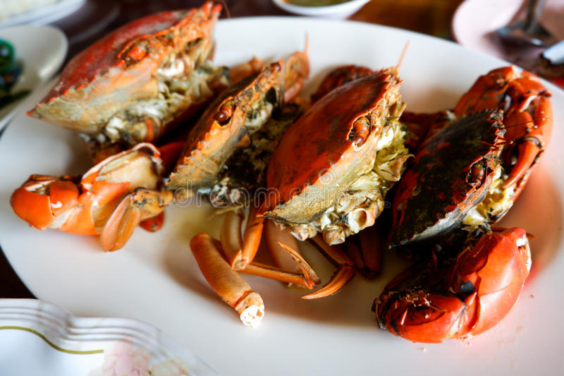 Steamed Crab with Thai spicy seafood sauce stock photography