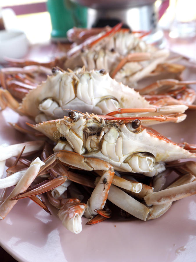 Steamed crabs seafood of Thailand stock photos