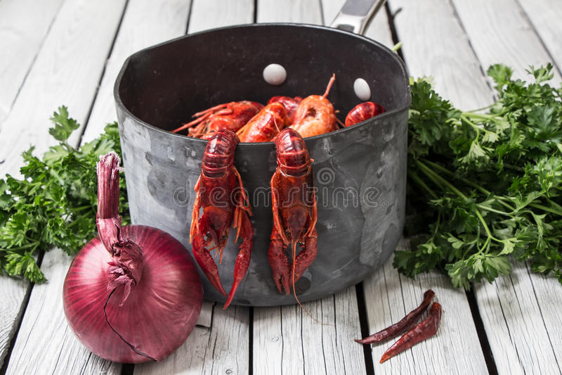 Steamed crawfish ready to eat. Boiled crawfish. Woden background. Rustic style. Fresh steamed crawfish with onion and parsley and red pepper. Boiled crawfish stock image