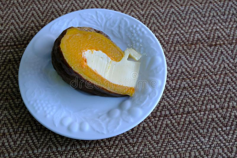 Steamed custard egg in pumpkin, royalty free stock photography