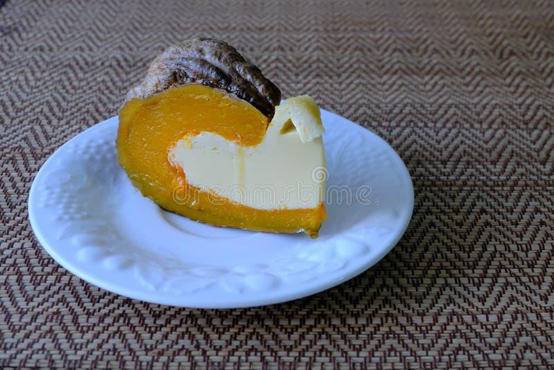 Steamed custard egg in pumpkin, stock image