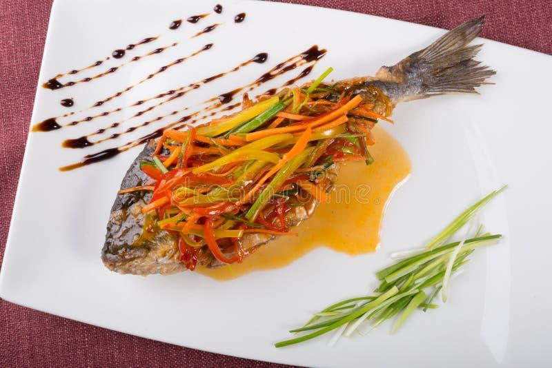 Steamed dorado fish royalty free stock photography