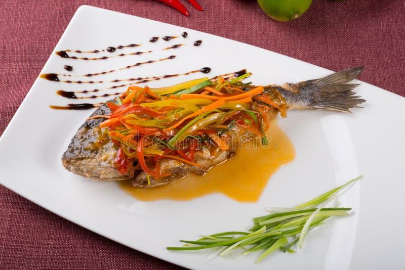 Steamed dorado fish royalty free stock photo