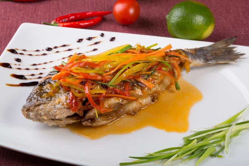 Steamed dorado fish royalty free stock photos