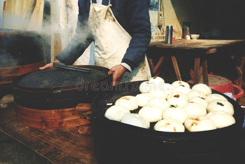 Steamed Dumplings Asian Culture Street Food Concept royalty free stock image