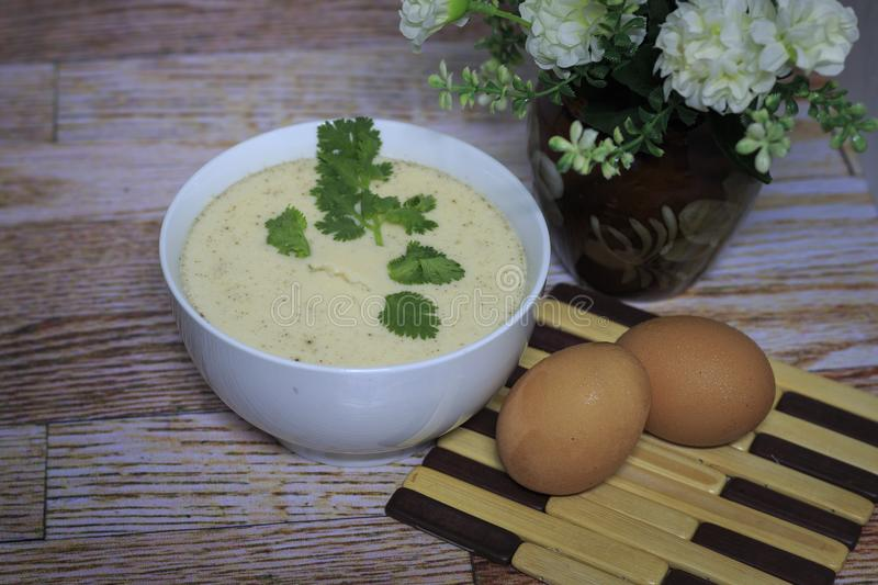 Steamed egg paste with egg.  stock photos