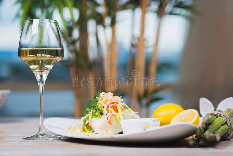 Steamed fillet of sea bass stock photos
