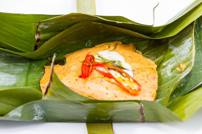 Steamed fish with curry paste royalty free stock image