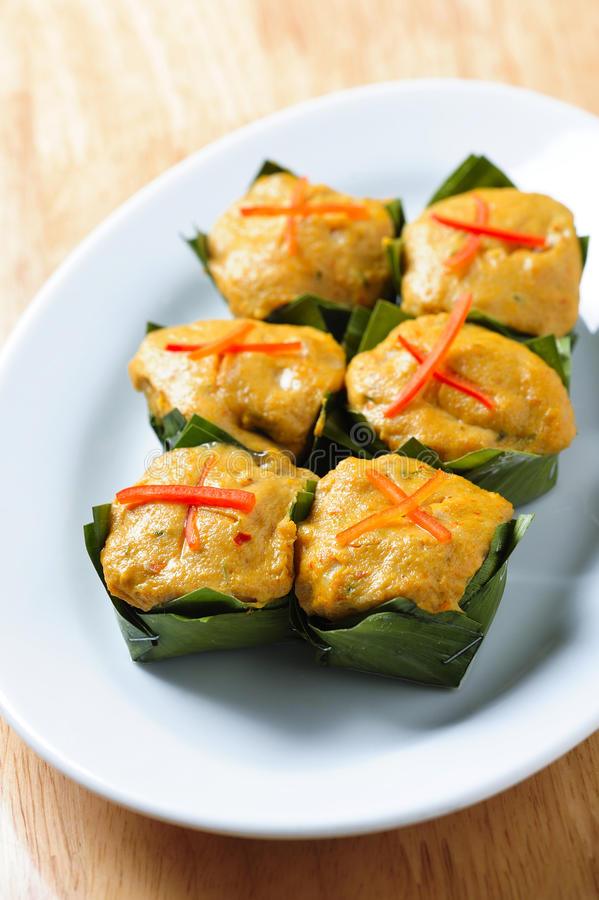 Steamed fish with curry paste Thai Food royalty free stock photo