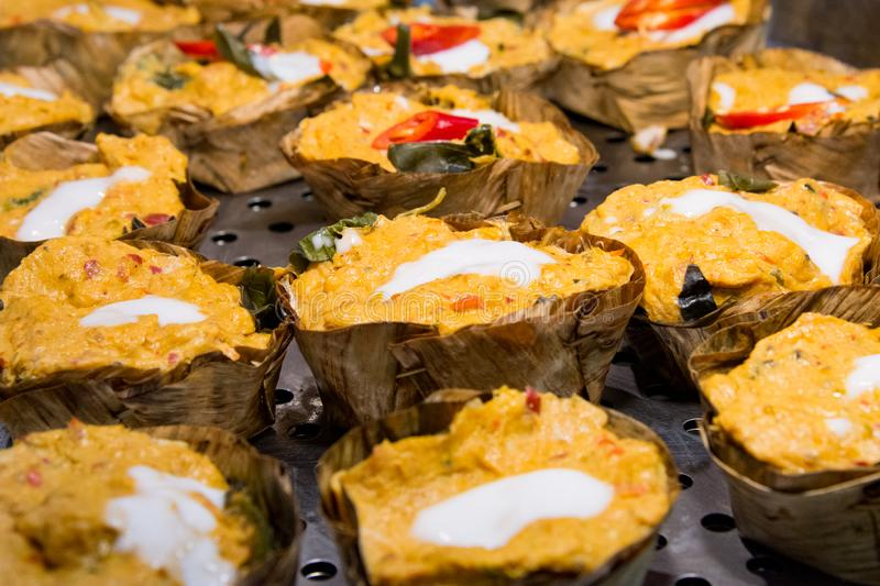 Steamed fish with curry paste, Thai food, Steam seafood with curry paste stock images
